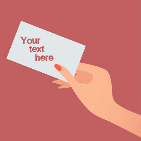 Hand with card. Your text here