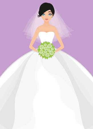 Vector illustration of young beautiful bride