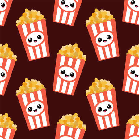 Popcorn with face cartoon style.
