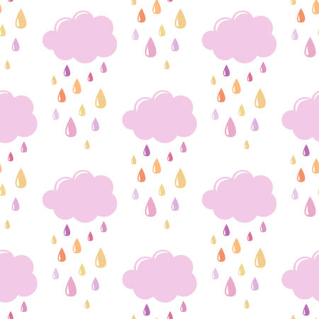 Pink clouds with drops. Seamless vector pattern on white background