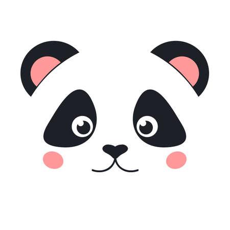 귀여운 팬더 얼굴 흰색 배경에 고립입니다. 플랫 스타일 일러스트