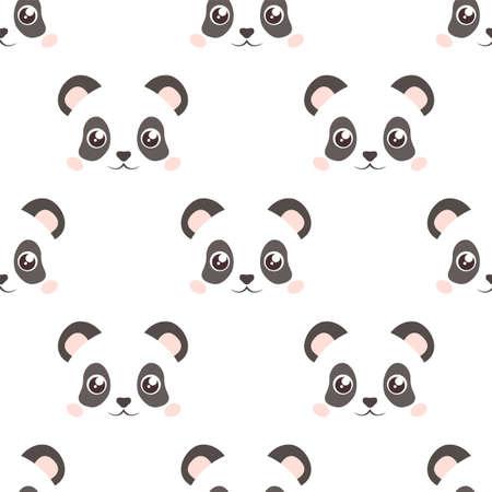Cute panda face. Seamless wallpaper. Cartoon vector. Flat style Illustration