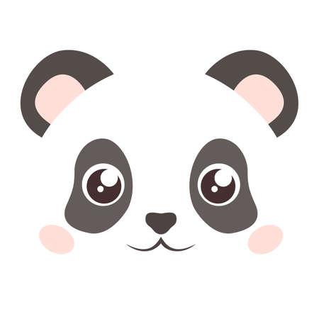 Cute panda face isolated on white background. Flat style Illustration