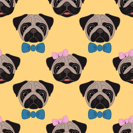 Pugs. Girl and boy. Seamless vector pattern on yellow background Illustration