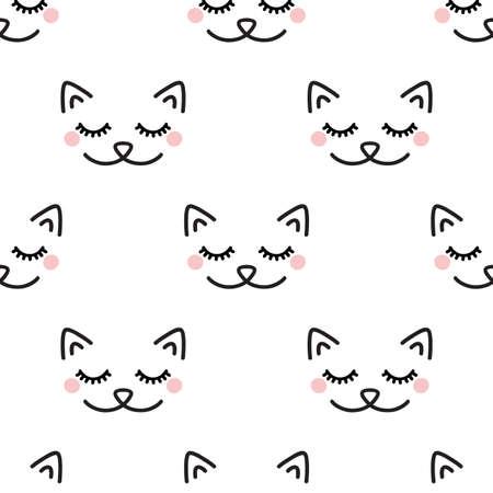 Sleepy Cat. Seamless vector pattern on white background