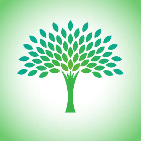 Stylized vector eco tree logo. Vector tree logotype for gardening and environment concepts. Eco logo, vector