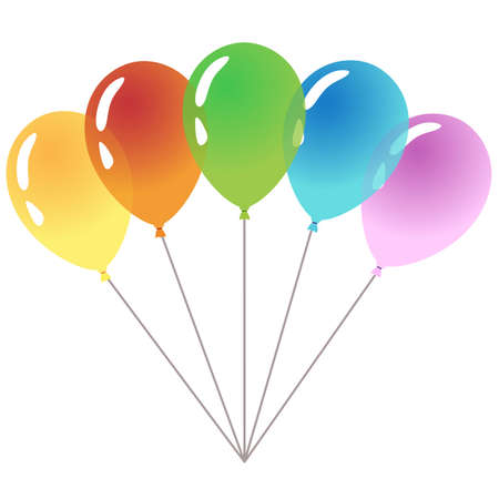 Five colorful balloons isolated on white background. Happy Birthday Illustration