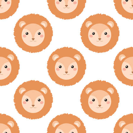 pattern: Cute lion face isolated on white background. Seamless vector pattern