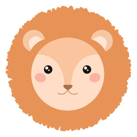 simple life: Cute lion face isolated on white background. Cartoon style