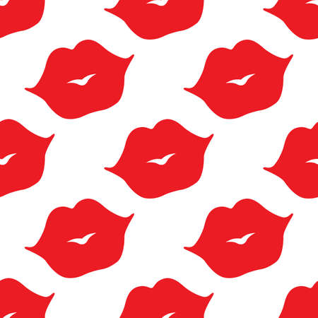 Seamless vector pattern. Red lips on white background Çizim