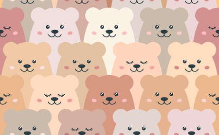 Cartoon bears. Seamless vector pattern