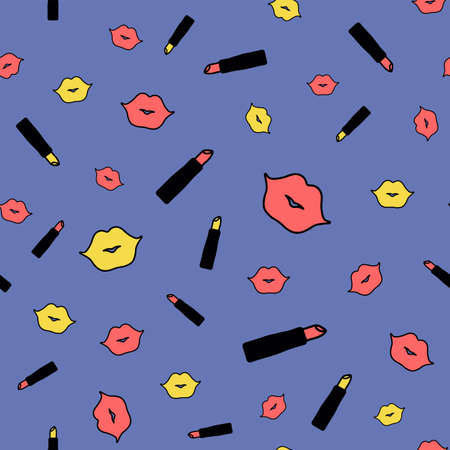 Lips and lipstick. Seamless vector pattern