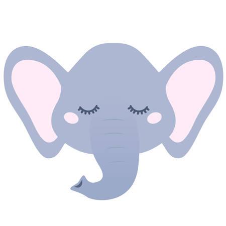 Sleepy elephant isolated on white background. Vectores