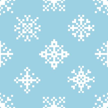 Pixel snowflakes. Seamless vector pattern Çizim