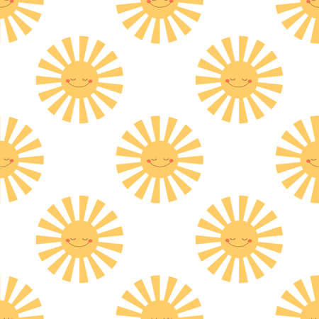 Sun with closed eyes Seamless vector pattern Illustration