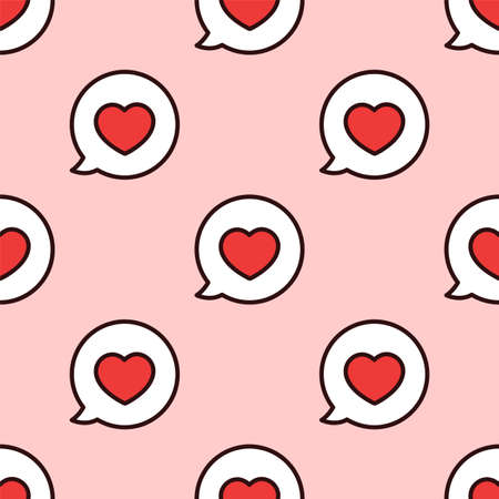 Love message. Seamless vector pattern. I love you. Speech bubble. Illustration