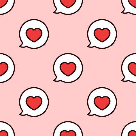 Love message. Seamless vector pattern. I love you. Speech bubble. Vettoriali