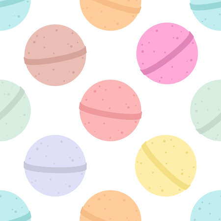Bath bomb. Vector cartoon background. Seamless pattern 向量圖像