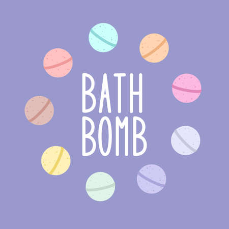 Bath bomb. Vector cartoon frame