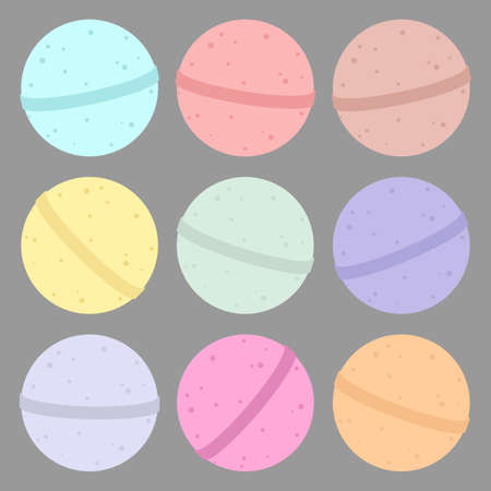 Bath bomb. Vector cartoon set.