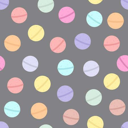 Bath bomb. Vector cartoon background. Seamless pattern Vettoriali