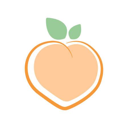 Peach. Logo design. Vector illustration. Stock Illustratie