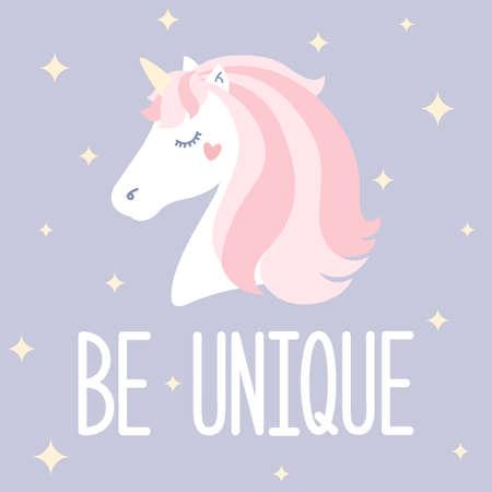 Be unique. Vector illustration with cute cartoon unicorn Çizim