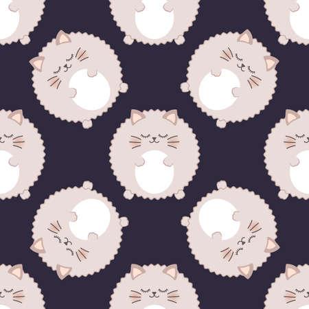 Fluffy cat. Seamless vector pattern Illustration