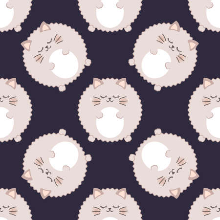 Fluffy cat. Seamless vector pattern 일러스트