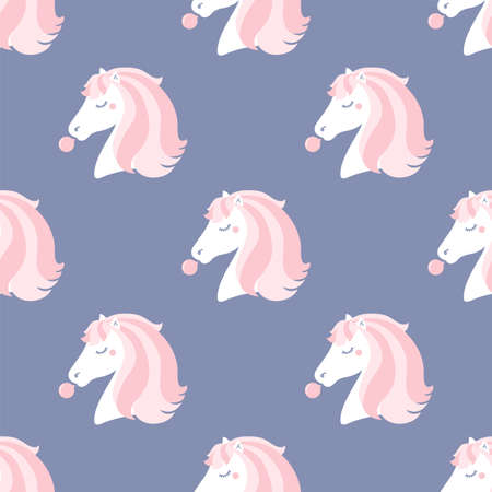 Pony blowing chewing gum. Seamless vector pattern