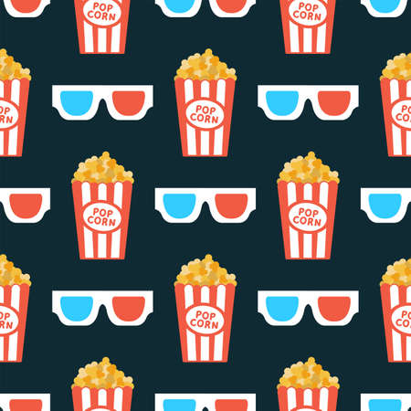 3D glasses and popcorn. Seamless vector pattern