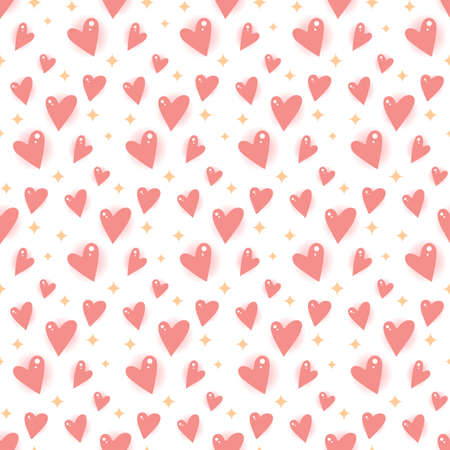 Cartoon hearts and stars. Seamless vector pattern