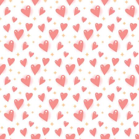 Cartoon hearts and stars. Seamless vector pattern