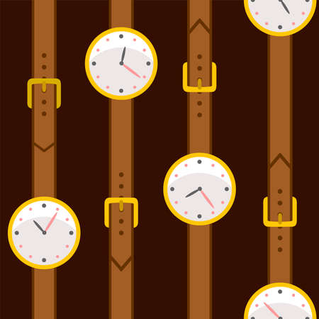 Hand clock. Seamless vector pattern. Cartoon style