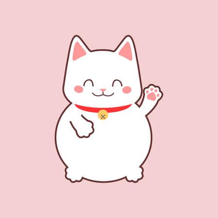 Maneki neko. Japan lucky cat. Vector illustration Illustration