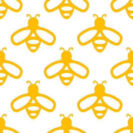Bee icon. Seamless vector pattern isolated on white