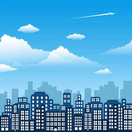 Day landscape city. Background in flat design. Vector illustration