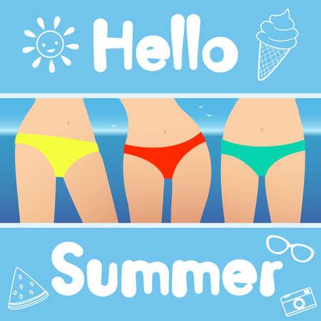 Hello summer. Vector illustration. Girls in bikinis
