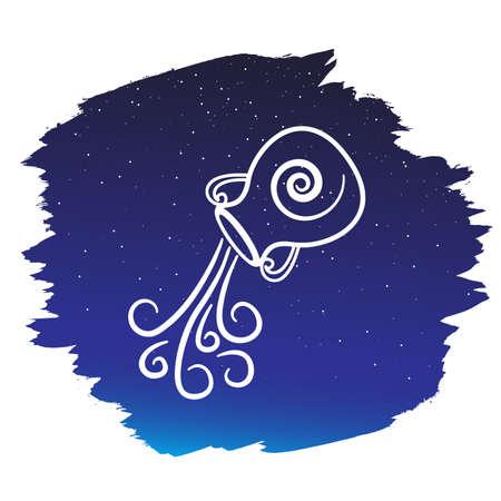 Zodiac sign - aquarius. Vector illustration Illustration