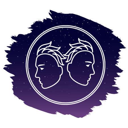 Zodiac sign - Gemini. Vector illustration isolated on white background