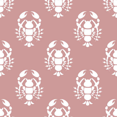 Silhouette of the cancer. Seamless vector pattern