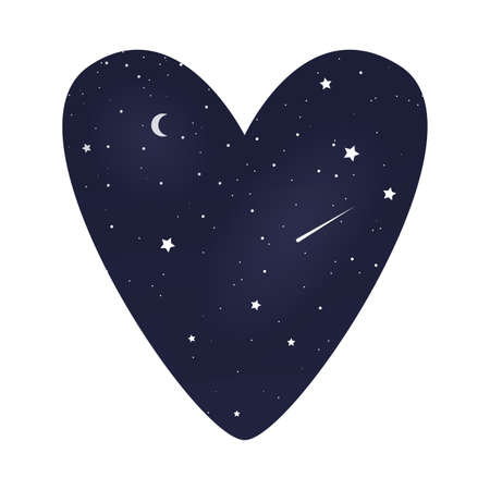 Heart symbol with starry night sky. Vector illustration Ilustração