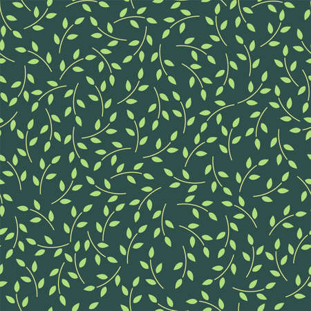 Green seamless pattern with leaves. Vector illustration Ilustracja