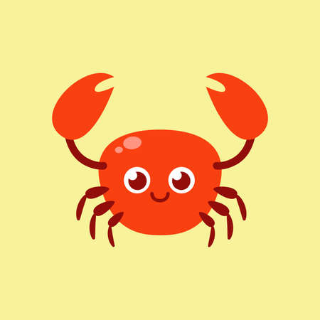 Cute crab. Cartoon vector illustration in flat style