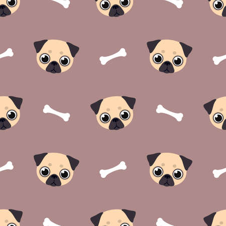 Pug face with bone. Cute animal. Seamless vector pattern