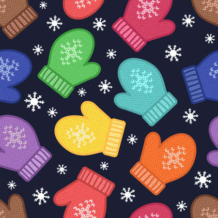 Mittens. Winter season. Seamless vector pattern