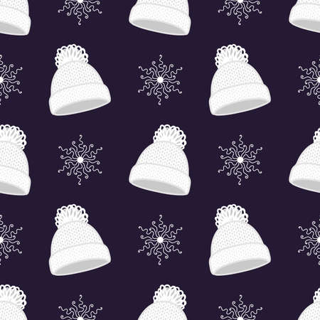 White winter hat and snowflakes. Seamless vector pattern Illustration