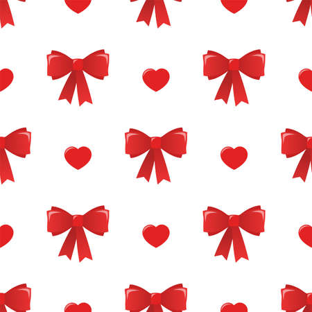 Bows and hearts. Vector seamless pattern. Happy Valentines Day