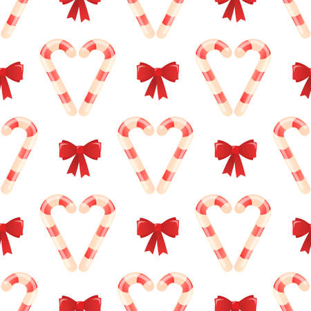 Christmas candy heart with bow. Seamless vector pattern.