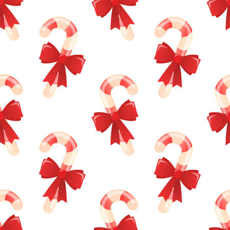 Christmas candy stick with bow. Seamless vector pattern